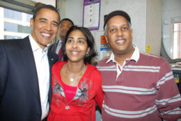 President-elect Barack Obama made his first D.C. appearance since the 2008 election at Ben's. He's pictured with Sonya and Kamal Ali, Ben Ali's daughter-in-law and son. (Courtesy of Ben's Chili Bowl)