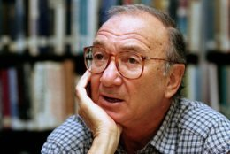 "FILE- In this Sept. 22, 1994, file photo, american playwright Neil Simon answers questions during an interview in Seattle, Wash. Simon, a master of comedy whose laugh-filled hits such as ""The Odd Couple,"" ""Barefoot in the Park"" and his ""Brighton Beach"" trilogy dominated Broadway for decades, died on Sunday, Aug. 26, 2018. He was 91. (AP Photo/Gary Stuart, File)"