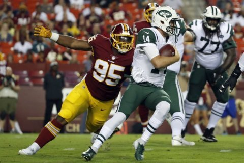 Starters limited, young guys contribute in Redskins win over Jets