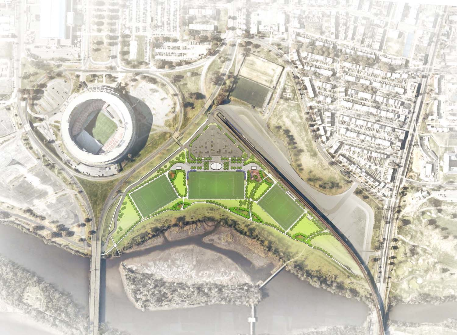 An overhead view of how the planned fields will fit into the existing campus. (Courtesy: Events DC)