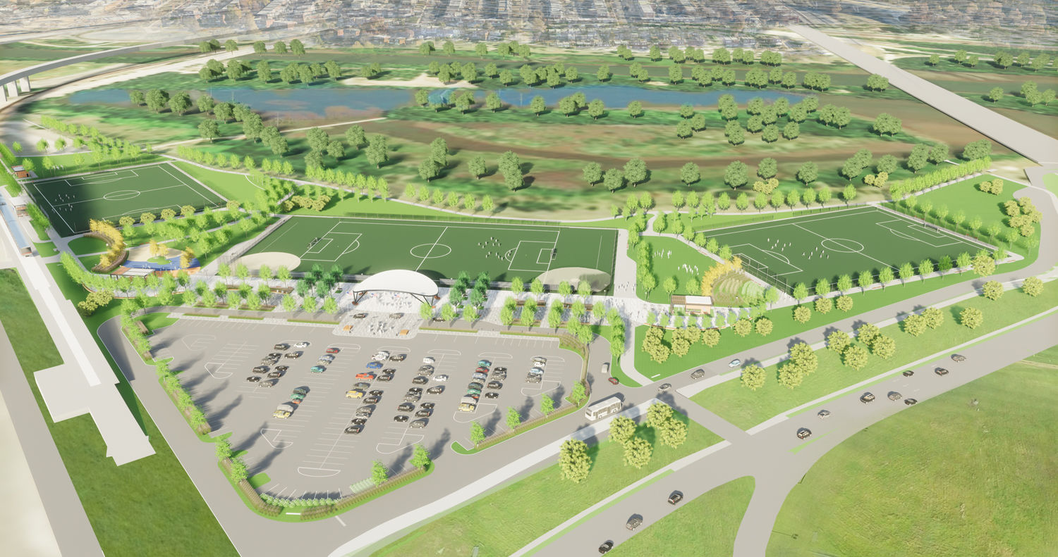 An artist rendering of the new RFK fields, looking East toward the Anacostia River. (Courtesy: Events DC)