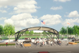 A pavilion will serve as an official entrance from the parking area next to the middle field. (Courtesy: Events DC)