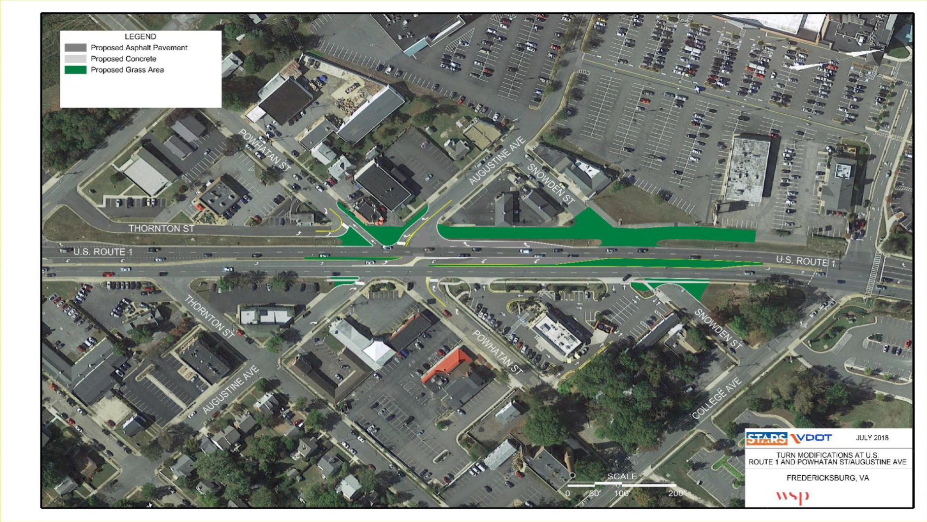 Changes to turn lanes aim to alleviate traffic and reduce the number of collisions on Route 1 through Fredericksburg. (Courtesy of VDOT)