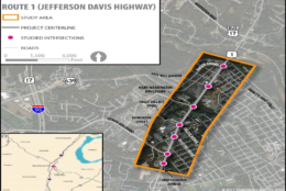 An outline of the area that has been identified as in need of changes. While several projects aim to improve traffic in these areas, there are no construction dates or firm funding available yet for any of the proposals. (Courtesy of VDOT)