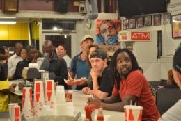 The full D.C.: Bryce Harper and Wale at Ben's. (Courtesy of Ben's Chili Bowl)