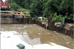 Because the Brandywine Road Bridge project area is a floodplain, crews have even had to pump the water out to be able to do anything. (Courtesy Maryland Department of Transportation State Highway Administration)