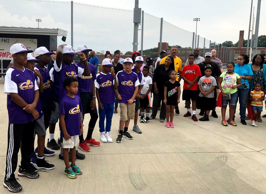 The city's Mamie Johnson Little League team gets treated to celebrations at the Washington Nationals Youth Baseball Academy in Southeast D.C. (WTOP/Mike Murillo)