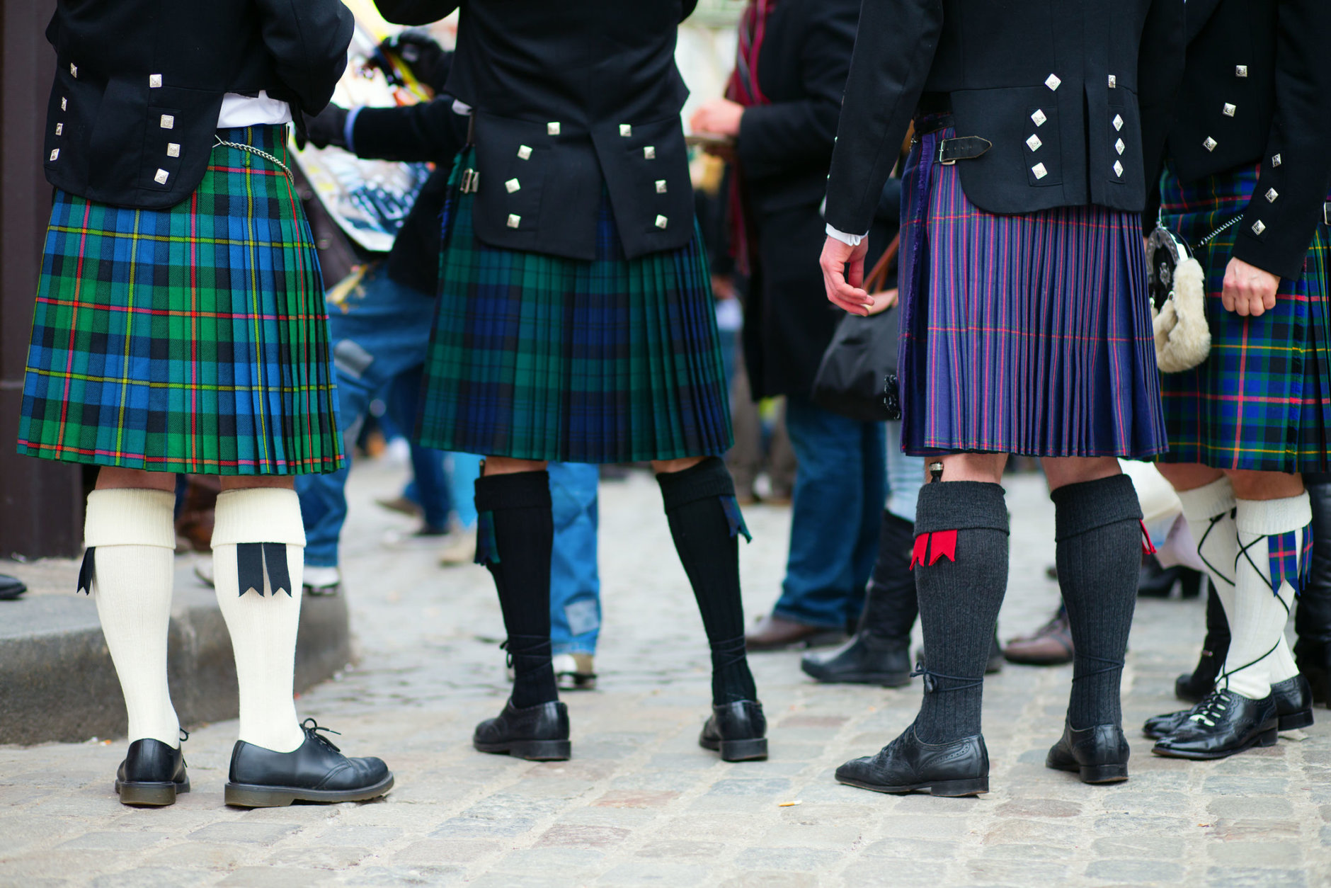 Men in traditional kilts (Thinkstock)