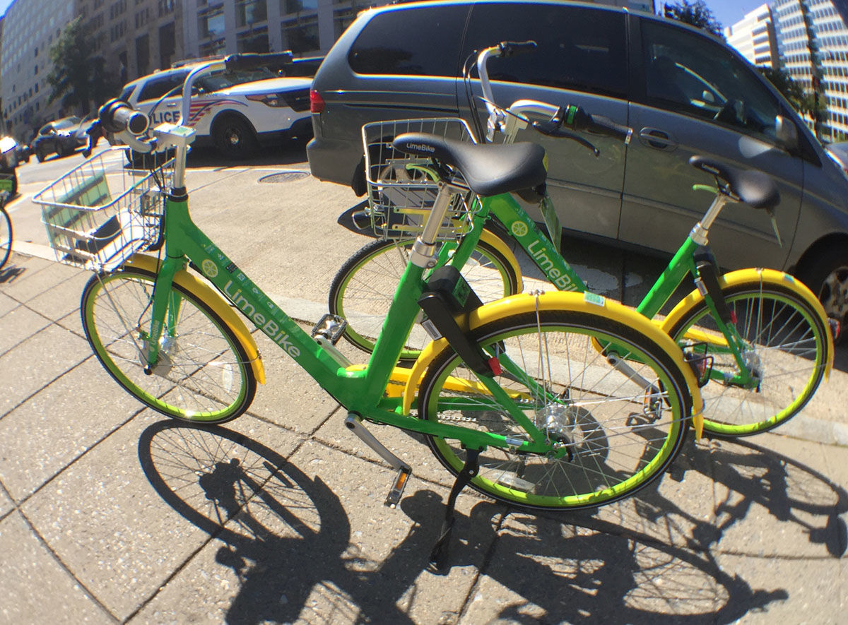 Lime offers bikes, ebikes and scooters. (WTOP/Kate Ryan)