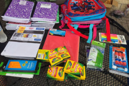 Some of the items donated as the Stuff-a-Bus campaign started on Sunday in Bowie. (WTOP/Melissa Howell)
