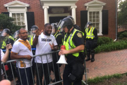 "Police declare a group of protesters who veered from the permit area on Saturday, Aug. 11, 2018, an ""unlawful assembly."" (WTOP/Max Smith)"