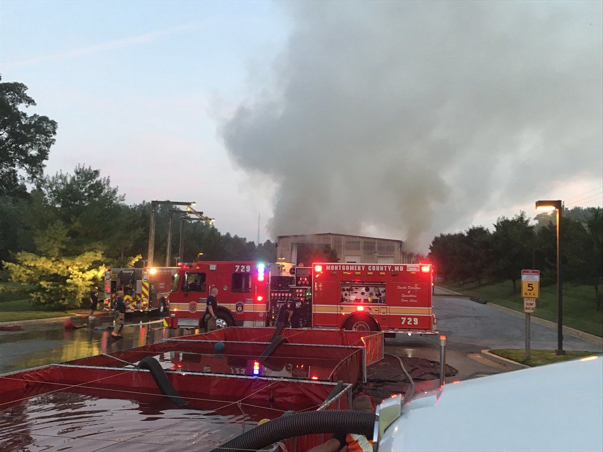 Fire officials say the fire will take hours to put out. (Courtesy Daniel Ogren/Montgomery County Fire)