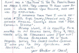 A 1992 letter to Wuerl from one priest in prison requested confirmation of future salary payments to help with his release. (Pennsylvania attorney general)