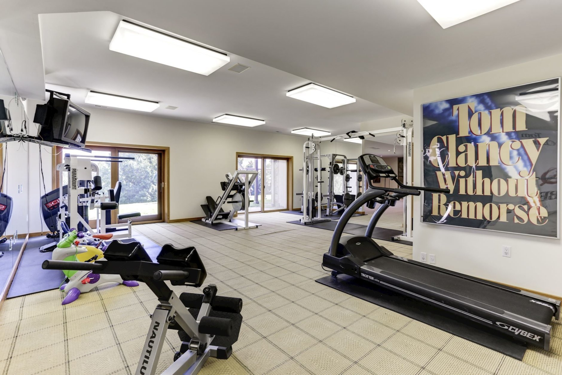 The exercise room at Tom Clancy's estate. (Courtesy Cummings & Co. Realtors)