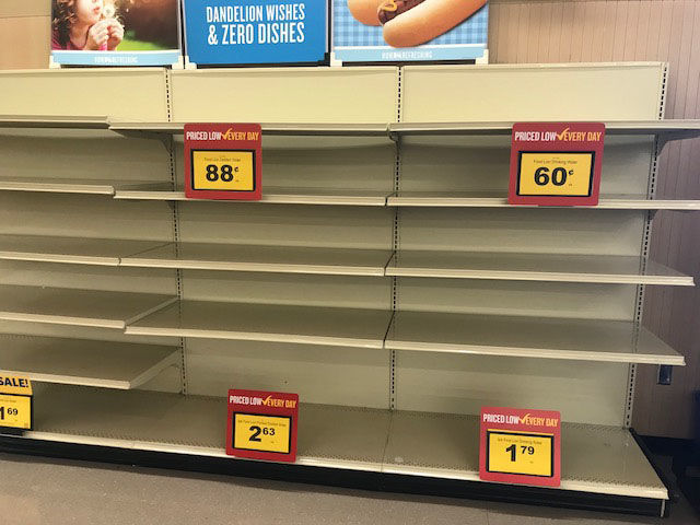 Empty shelves at a Food Lion grocery store in Morehead, North Carolina Sept. 11, 2018 as Hurricane Florence churns toward the coast. (WTOP/Steve Dresner)