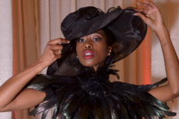 A model poses after the DC Fashion Week International Couture Collections at the Embassy of France