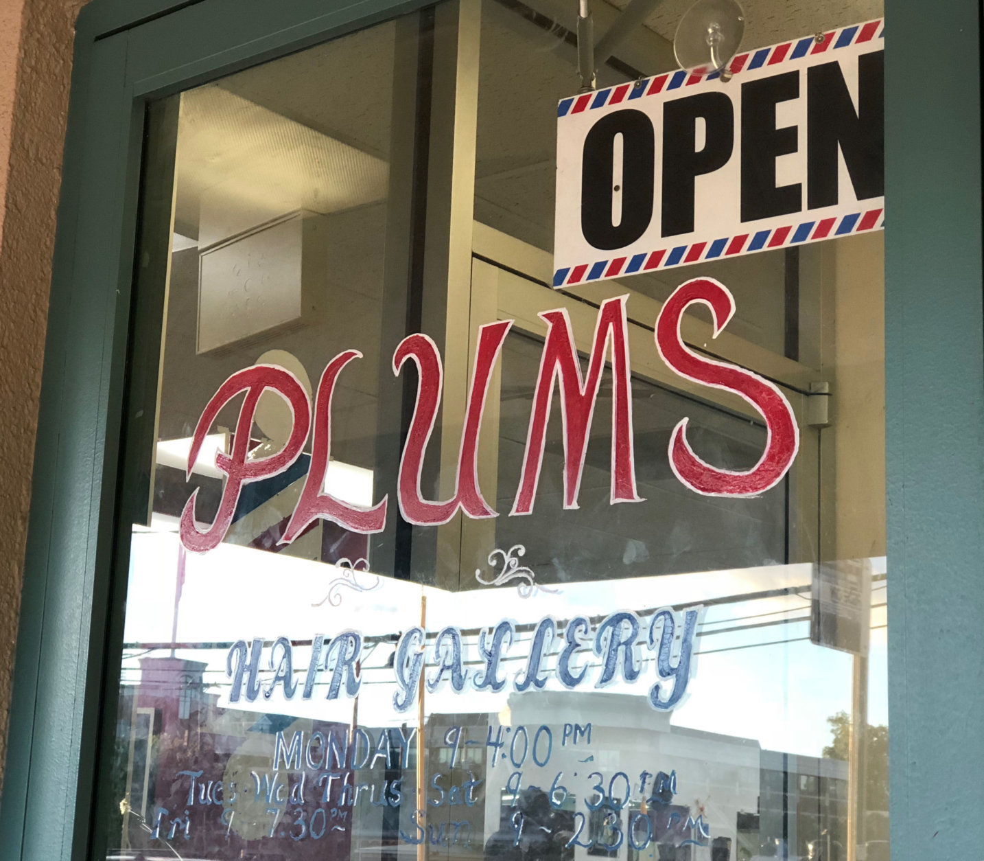 Plum's Hair Gallery in Gaithersburg, Maryland, is seen in this WTOP photo. Politics is always a hot topic in the barbershop. (WTOP/Kate Ryan)