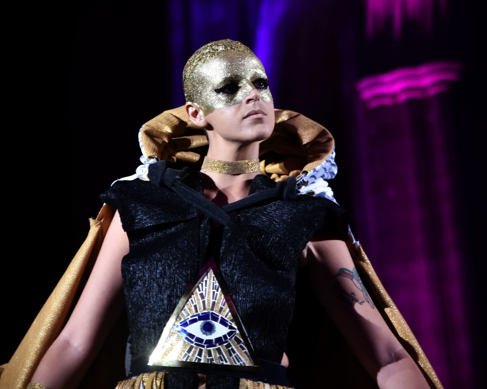 """A model wears a garment constructed out of materials used in the built interior environment during the International Interior Design Association Mid-Atlantic Chapter (IIDA-MAC) Annual Cosmo Couture Fashion Show at the Washington National Cathedral on Thursday, September 20, 2018. (Courtesy Shannon Finney/<a href=""""https://www.shannonfinneyphotography.com/index"""" target=""""_blank"""" rel=""""noopener noreferrer"""">shannonfinneyphotography.com</a>)"""