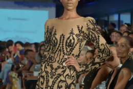 """A model wears pieces from Corjor International's Spring/Summer 2019 collection at the DowntownDC Business Improvement District (BID) District of Fashion runway show. (Courtesy Shannon Finney/<a href=""""https://www.shannonfinneyphotography.com/index"""" target=""""_blank"""" rel=""""noopener noreferrer"""">shannonfinneyphotography.com</a>)"""