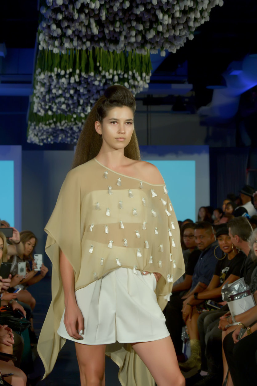"""A model wears pieces from the Fashions by Le Tam spring/summer 2019 line. (Courtesy Shannon Finney/<a href=""""https://www.shannonfinneyphotography.com/index"""" target=""""_blank"""" rel=""""noopener noreferrer"""">shannonfinneyphotography.com</a>)"""
