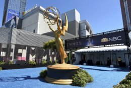 An Emmy statue appears before the 70th Primetime Emmy Awards on Monday, Sept. 17, 2018, at the Microsoft Theater in Los Angeles. (Photo by Jordan Strauss/Invision/AP)