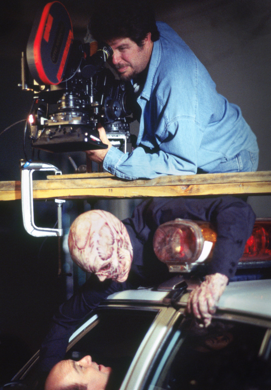 "Don Coscarelli films a scene with Reggie Bannister and a monster for ""Phantasm: Oblivion."" (Courtesy Silver Sphere Productions)"