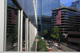 American flags hang from the tops of buildings in a show of patriotism and remembrance. (Courtesy Rosslyn Business Improvement District)