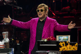 "Elton John takes the stage during his final performance of ""The Million Dollar Piano"" at The Colosseum at Caesars Palace on Thursday, May 17, 2018, in Las Vegas. (Photo by Joe Buglewicz/Invision/AP)"