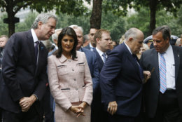 Attending a ceremony marking the 17th anniversary of the terrorist attacks on the United States are, left to right: New York Mayor Bill de Blasio, Nikki Haley, the U.S. Ambassador to the United Nations, Rudy Giuliani, lawyer for President Donald Trump and former mayor of New York, and Chris Christie, former governor of New Jersey, Tuesday, Sept. 11, 2018, in New York. (AP Photo/Mark Lennihan)