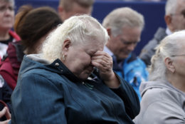 Family members attend the September 11th Flight 93 Memorial Service, Tuesday, Sept. 11, 2018, in Shanksville, Pa. President Donald Trump is marking 17 years since the worst terrorist attack on U.S. soil by visiting the Pennsylvania field that became a Sept. 11 memorial.  (AP Photo/Evan Vucci)