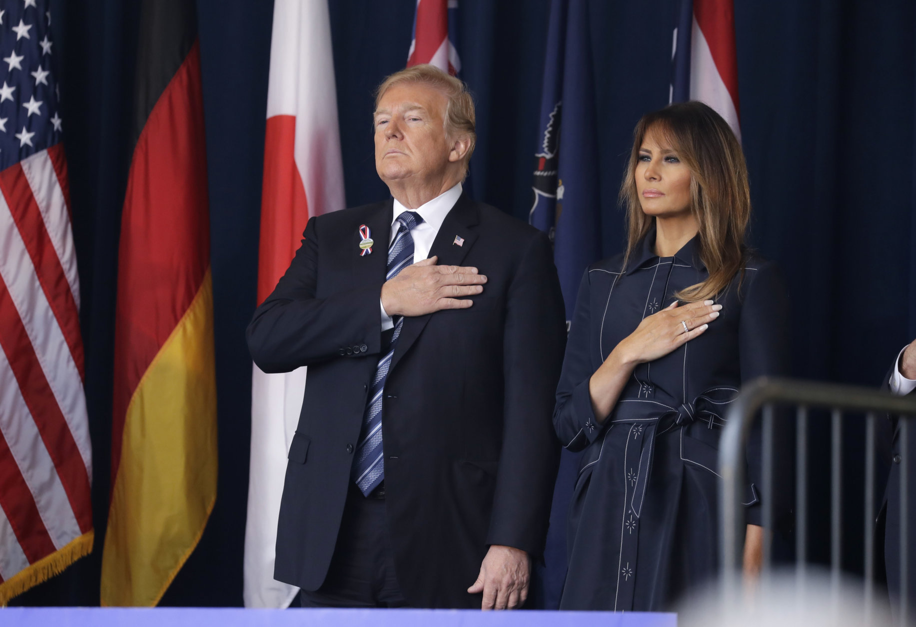 President Donald Trump and first lady Melania Trump participate in the September 11th Flight 93 Memorial Service, Tuesday, Sept. 11, 2018, in Shanksville, Pa. (AP Photo/Evan Vucci)
