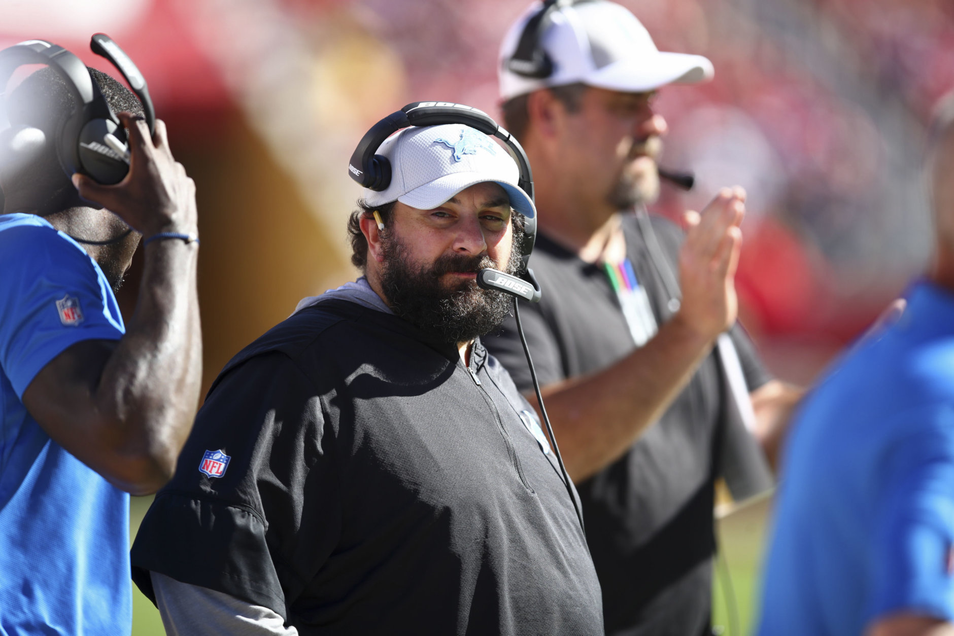 Detroit Lions head coach Matt Patricia stands on the sidelines during the second half of an NFL football game against the San Francisco 49ers in Santa Clara, Calif., Sunday, Sept. 16, 2018. San Francisco won the game 30-27. (AP Photo/Ben Margot)
