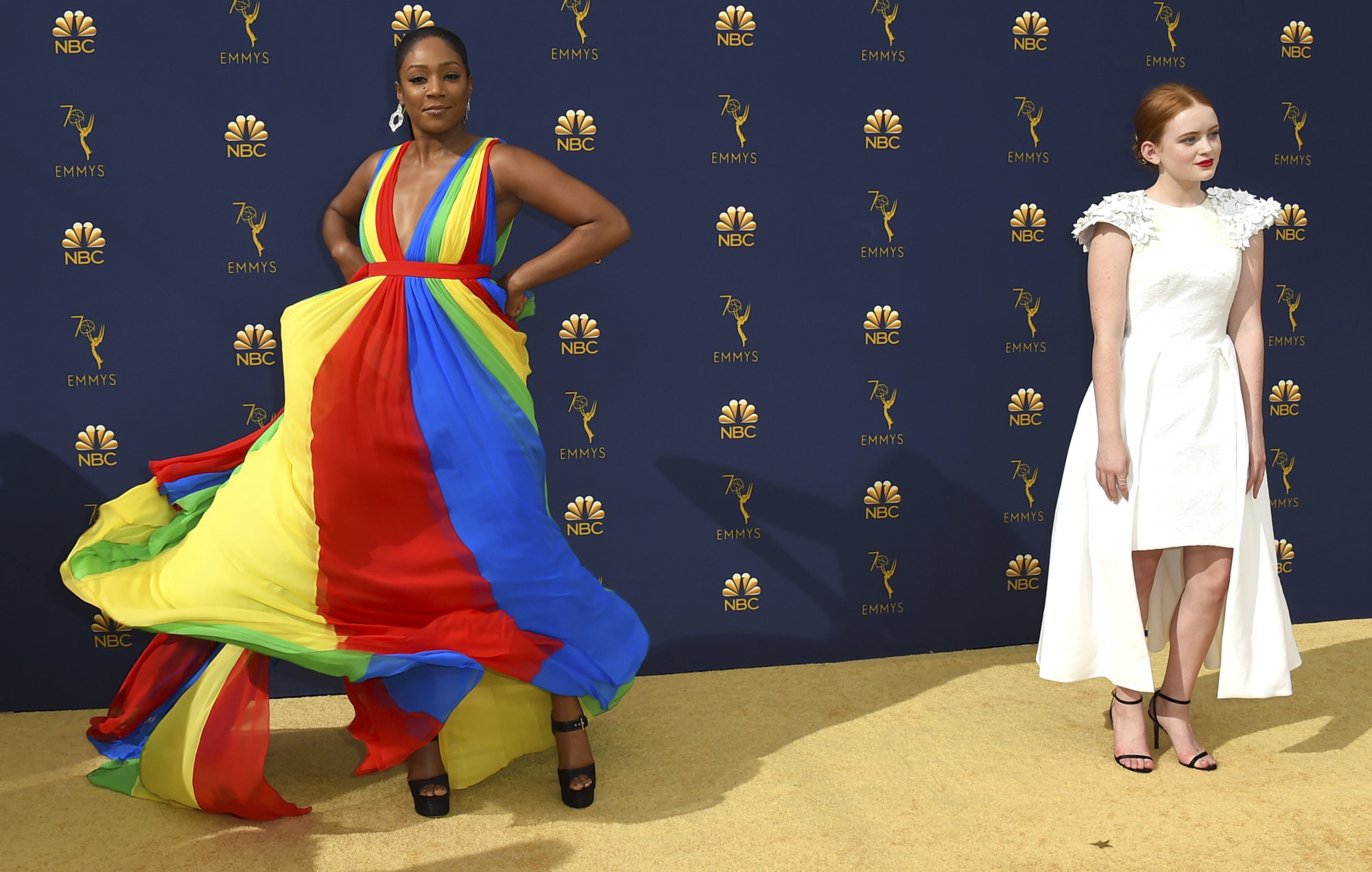 Tiffany Haddish, left, and Sadie Sink arrive at the 70th Primetime Emmy Awards on Monday, Sept. 17, 2018, at the Microsoft Theater in Los Angeles. (Photo by Jordan Strauss/Invision/AP)