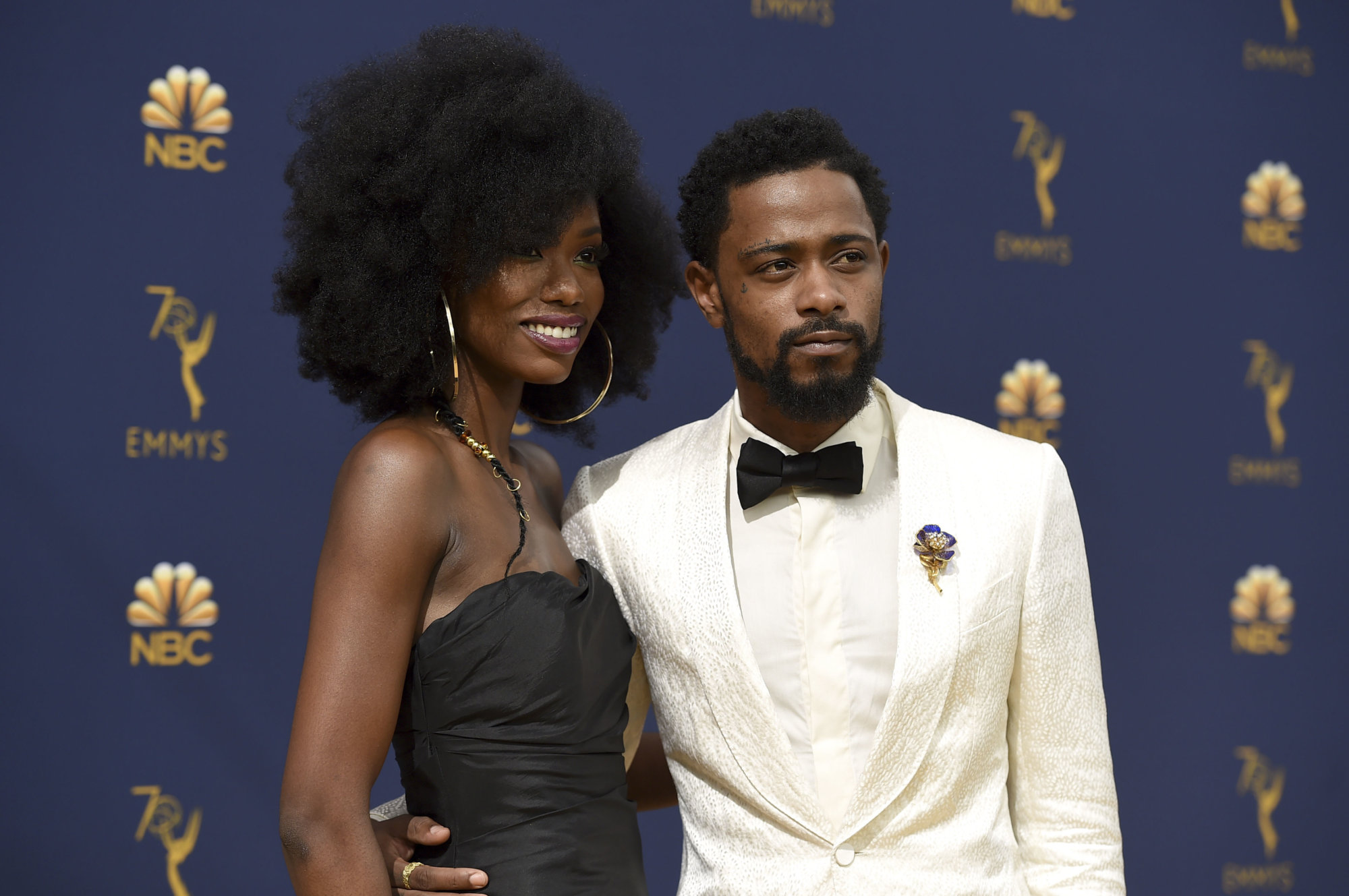 Xosha Roquemore, left, and Lakeith Stanfield arrive at the 70th Primetime Emmy Awards on Monday, Sept. 17, 2018, at the Microsoft Theater in Los Angeles. (Photo by Jordan Strauss/Invision/AP)