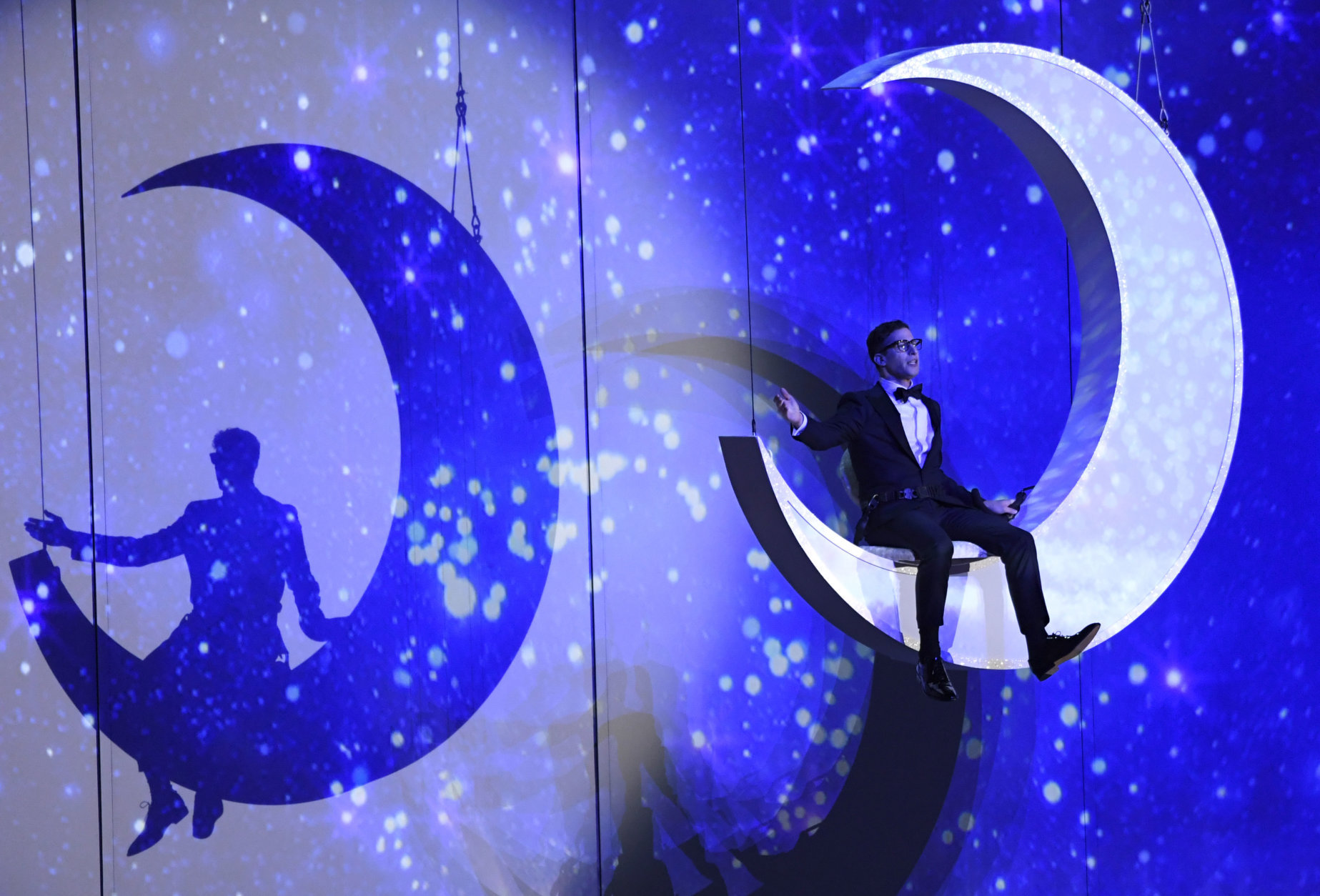Andy Samberg performs at the 70th Primetime Emmy Awards on Monday, Sept. 17, 2018, at the Microsoft Theater in Los Angeles. (Photo by Chris Pizzello/Invision/AP)