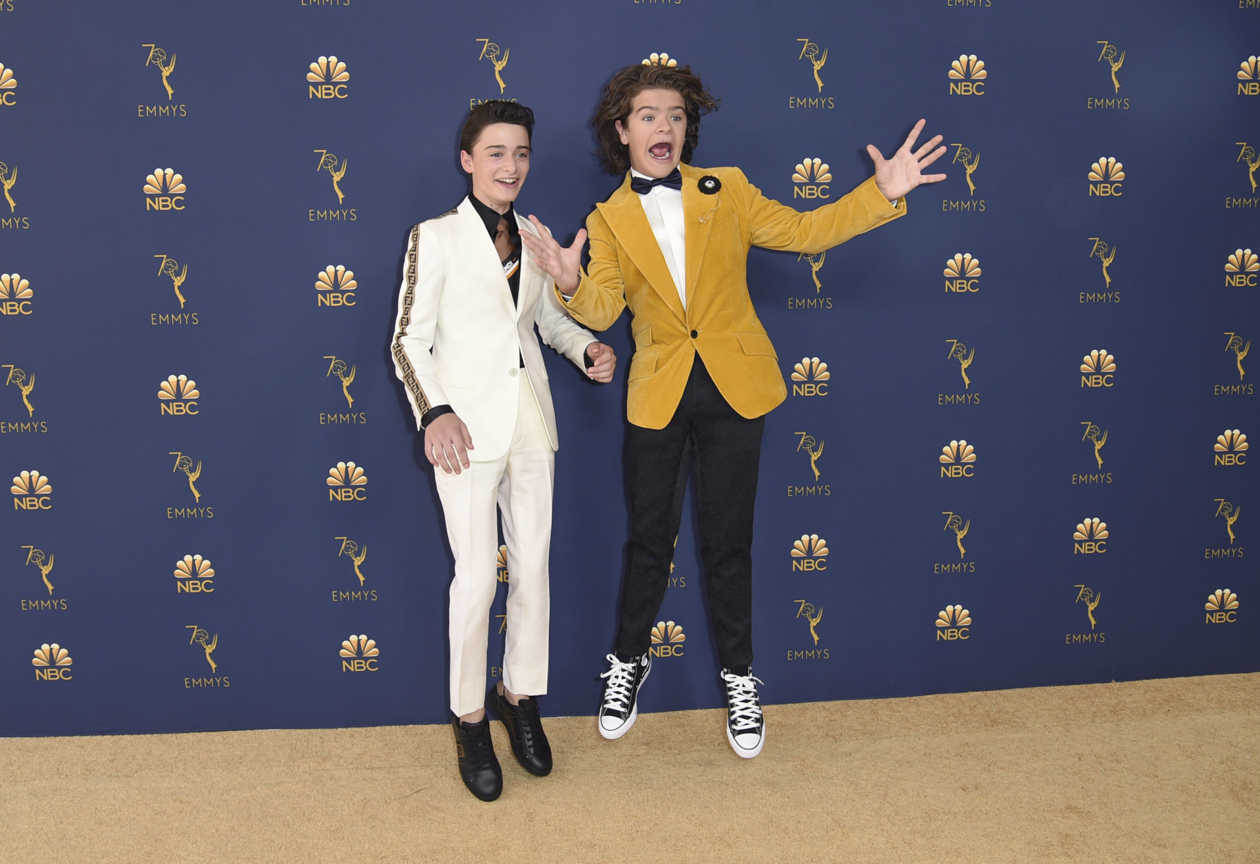 Noah Schnapp, left, and Gaten Matarazzo arrive at the 70th Primetime Emmy Awards on Monday, Sept. 17, 2018, at the Microsoft Theater in Los Angeles. (Photo by Richard Shotwell/Invision/AP)