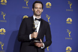 """Bill Hader poses in the press room with the award for outstanding lead actor in a comedy series for """"Barry"""" at the 70th Primetime Emmy Awards on Monday, Sept. 17, 2018, at the Microsoft Theater in Los Angeles. (Photo by Jordan Strauss/Invision/AP)"""