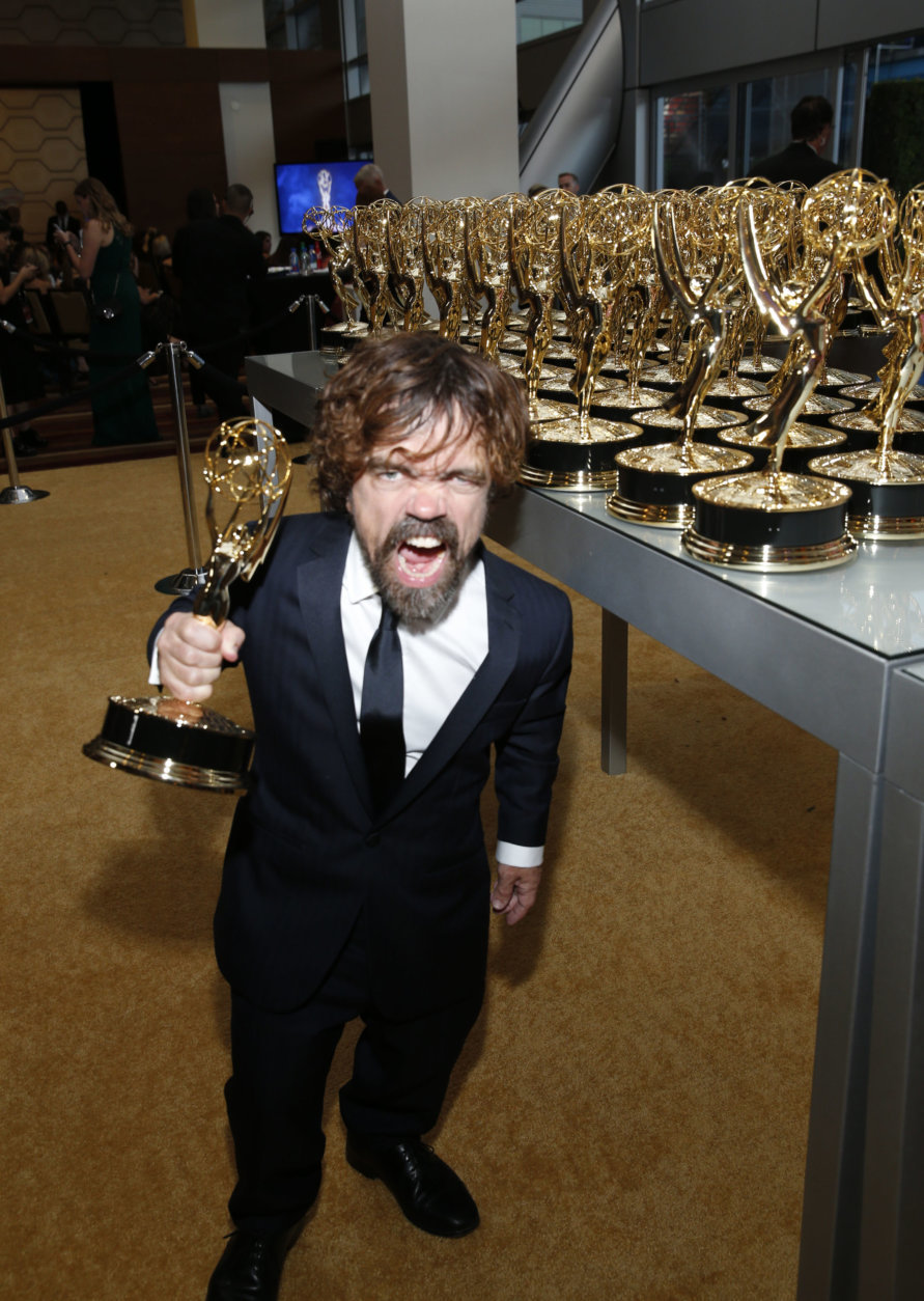 """IMAGE DISTRIBUTED FOR THE TELEVISION ACADEMY - EXCLUSIVE - Peter Dinklage, winner of the award for outstanding supporting actor in a drama series for """"Game of Thrones"""", attends the 70th Primetime Emmy Awards on Monday, Sept. 17, 2018, at the Microsoft Theater in Los Angeles. (Photo by Eric Jamison/Invision for the Television Academy/AP Images)"""