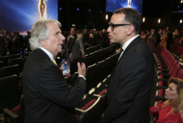 IMAGE DISTRIBUTED FOR THE TELEVISION ACADEMY - Henry Winkler and Fred Armisen at the 70th Primetime Emmy Awards on Monday, Sept. 17, 2018, at the Microsoft Theater in Los Angeles. (Photo by Alex Berliner/Invision for the Television Academy/AP Images)