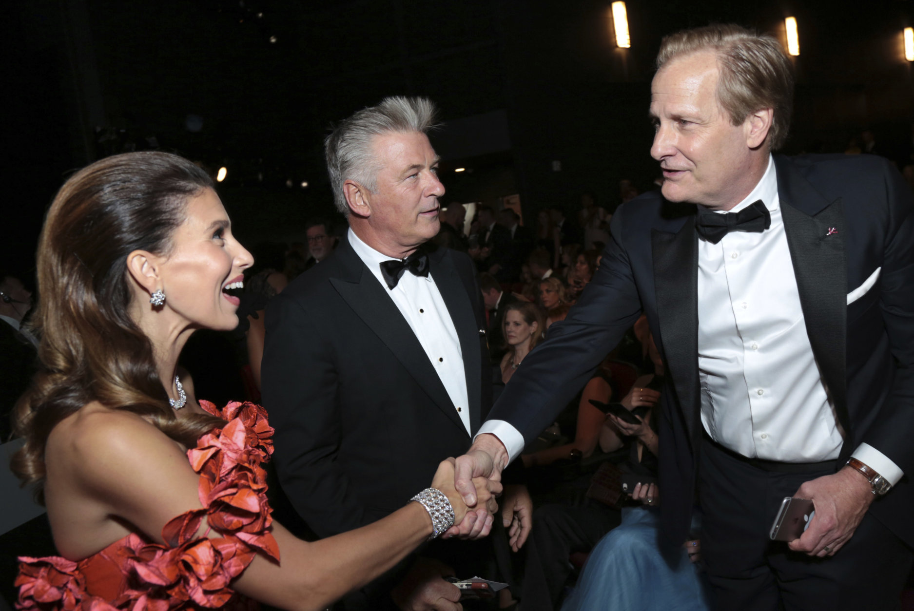 IMAGE DISTRIBUTED FOR THE TELEVISION ACADEMY - Hilaria Baldwin, Alec Baldwin and Jeff Daniels at the 70th Primetime Emmy Awards on Monday, Sept. 17, 2018, at the Microsoft Theater in Los Angeles. (Photo by Alex Berliner/Invision for the Television Academy/AP Images)