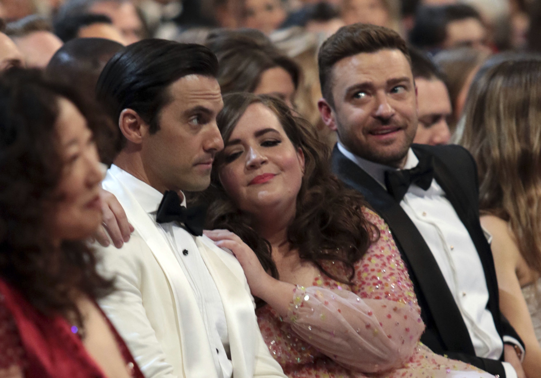 IMAGE DISTRIBUTED FOR THE TELEVISION ACADEMY - Milo Ventimiglia, Aidy Bryant and Justin Timberlake at the 70th Primetime Emmy Awards on Monday, Sept. 17, 2018, at the Microsoft Theater in Los Angeles. (Photo by Alex Berliner/Invision for the Television Academy/AP Images)