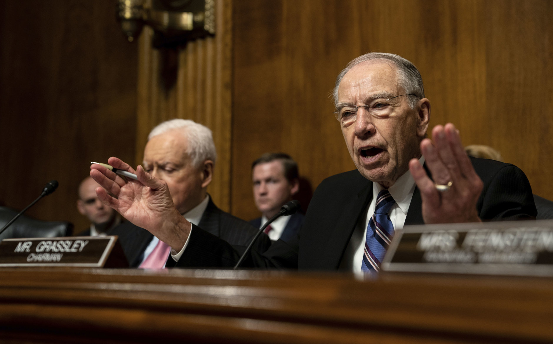 Senate Judiciary Chairman Chuck Grassley, R-Iowa., talks during a Senate Judiciary Committee hearing with Christine Blasey Ford, Thursday, Sept. 27, 2018 on Capitol Hill in Washington.   (Erin Schaff/The New York Times via AP, Pool)