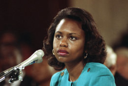 """FILE - This Oct. 11, 1991 file photo shows University of Oklahoma Law Professor Anita Hill testifying before the Senate Judiciary Committee on Capitol Hill in Washington. HBO says that """"Scandal"""" star Kerry Washington will play Hill in a film about the 1991 Supreme Court confirmation hearings for Clarence Thomas. (AP Photo, File)"""