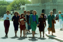 Rep. Patricia Schroeder, D-Colo., center, leads a delegation of congressswomen from the House to the Senate on Capitol Hill to voice their concerns on the nomination of Clarence Thomas to the Supreme Court in Washington D.C., Oct. 8, 1991.  Accompanying Schroeder, from left, are, Louise Slaughter, D-N.Y., Barbara Boxer, D-Calif., Eleanor Holmes-Norton, D-D.C., Nita Lowey, D-N.Y., Patsey Mink, D-Hi., and Jolene Unsoeld, D-Wash.  (AP Photo/Marcy Nighswander)