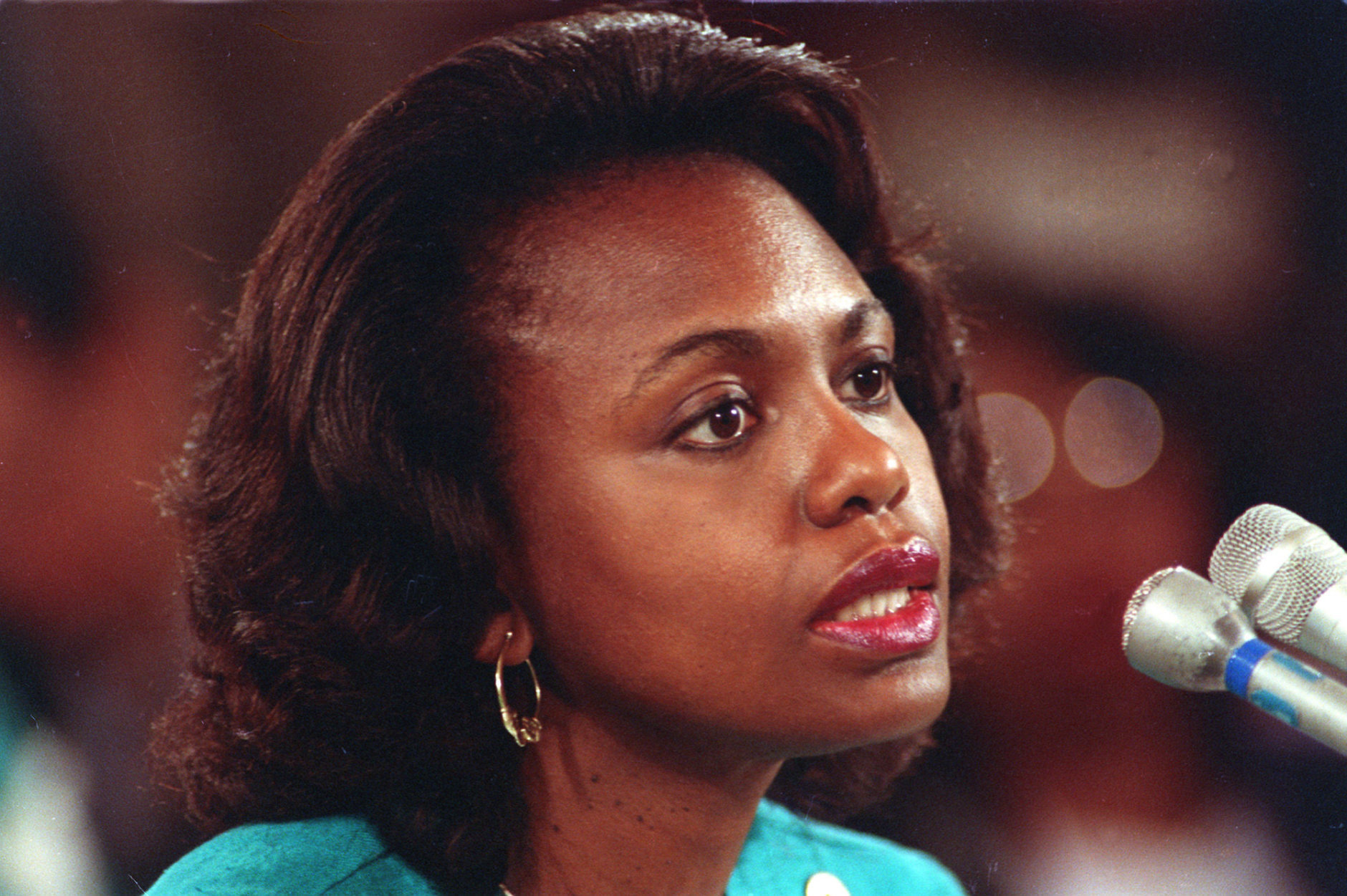 ** FILE**University of Oklahoma law professor Anita Hill testifies before the Senate Judiciary Committee on the nomination of Clarence Thomas to the Supreme Court on Capitol Hill in Washington, D.C., in this Oct. 11, 1991 file photo. Thrust briefly back in the spotlight by biting words in Thomas' new book, Hill now is trying to answer this question: Have things gotten better for women in the workplace? (AP Photo/John Duricka, file)