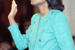 University of Oklahoma law professor Anita Hill is sworn in, in the Caucus Room before testifying before the Senate Judiciary Committee on Capitol Hill in Washington, Oct. 11, 1991. Hill's explosive allegations included graphic language and were carried live by many media outlets throughout the nation. (AP Photo/Greg Gibson)
