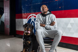 The Wizards' Bradley Beal poses with a cuddly teammate. (Courtesy Humane Rescue Alliance)