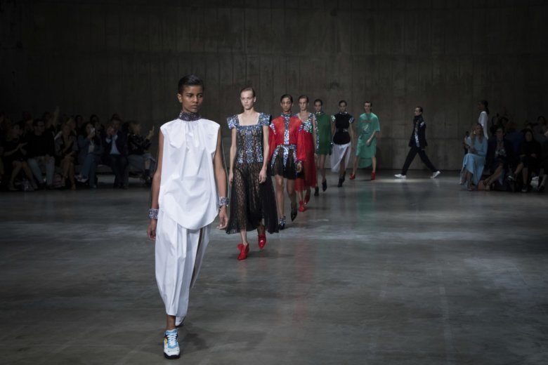 bea621cc4b08 Models wear creations by Christopher Kane during their Spring Summer 2019  runway show at London Fashion Week in London