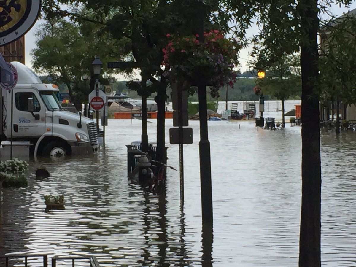 Almost a block and a half of King Street in Alexandria was flooded 50 minutes before high tide on Sept. 10, 2018. (WTOP/John Domen)
