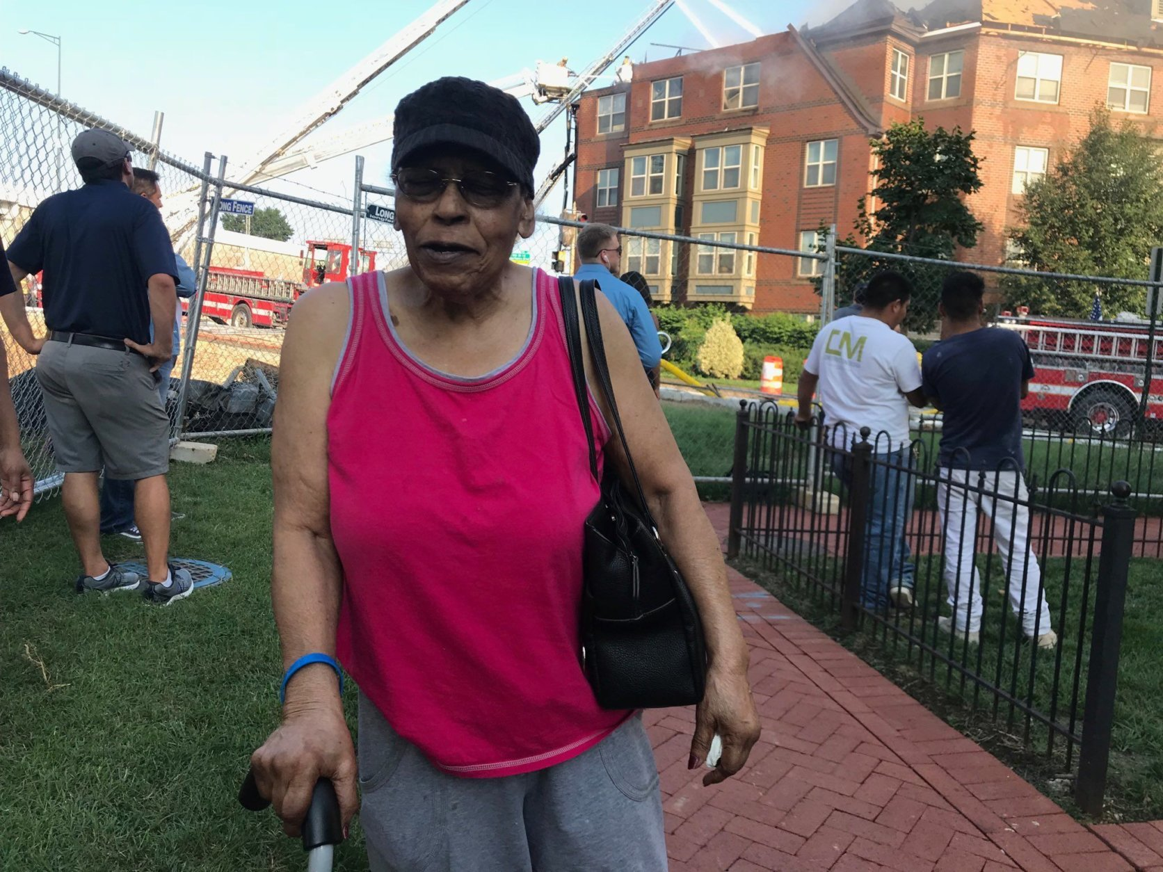 A.V. Jones told WTOP's Dick Uliano that she lives on the second floor of the senior building and never heard a fire alarm go off. (WTOP/Dick Uliano)